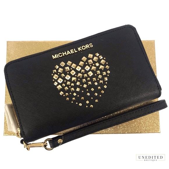 75f8747906d2 MICHAEL Michael Kors Bags | Nwt Flat Mf Wallet Black Saffiano Heart ...